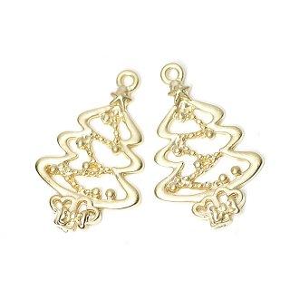 SALE【4個入り】マッドゴールド!X'mas Treeクリスマスツリーチャーム、ペンダント