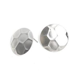 【1ペア】凹凸六角形カッティング約15mm円形マッドシルバーピアス、パーツ