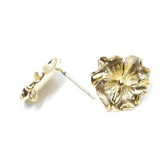 【1ペア】925刻印芯!梅の花モチーフマッドゴールドカン付きシルバー925芯ピアス