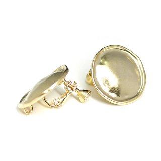 【1ペア】歪みサークル約22mmマッドゴールドネジバネ&カン付きイヤリング、パーツ