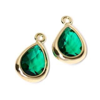 【2個入り】EmeraldカラーガラスTiny Drop形ゴールドチャーム