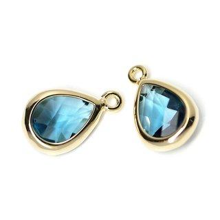 【2個入り】Royal BlueカラーガラスTiny Drop形ゴールドチャーム