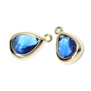 【2個入り】Blue SapphireカラーガラスTiny Drop形ゴールドチャーム
