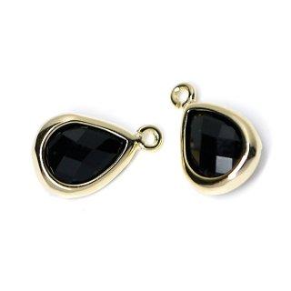 【2個入り】Onyx BlackカラーガラスTiny Drop形ゴールドチャーム