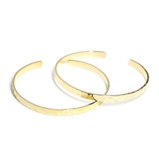 【1個】刻印入りに使用可!凹凸ある約4mmシンプル16K光沢ゴールドプレートバングル、ブレスレット製作パーツ
