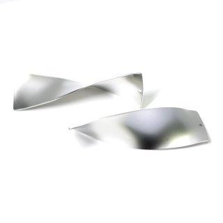 【1個】立体的な3Dデザインの長方形マッドシルバーチャーム、パーツ