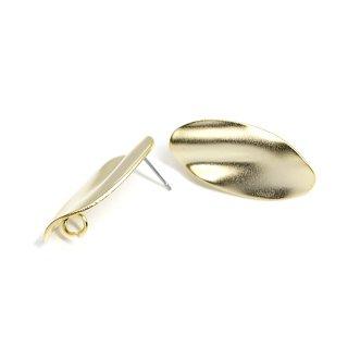 【1ペア】チタン芯!マッドゴールドスタイリッシュな曲線オーバル形ピアス、パーツ