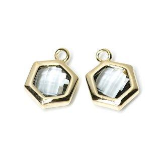 【2個入り】Black Diamondカラーガラスヘキサゴン形ゴールドチャーム