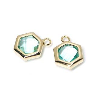 【2個入り】Aquaカラーガラスヘキサゴン形ゴールドチャーム