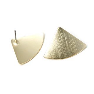 【1ペア】マッドゴールド!質感あるカーブ三角形チタン芯ピアス、パーツ