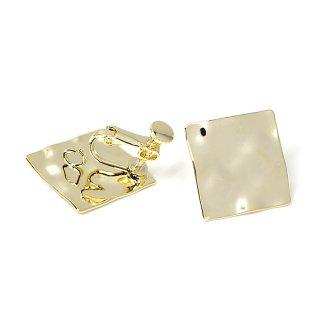 【1ペア】光沢ゴールド!緩やかな凹凸ある約18mmスクエア形ネジバネ&カン付きイヤリング、パーツ