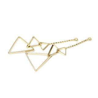 【2個入り】揺れる華奢な大きさ違いの三角形チェーン付き光沢ゴールドチャーム、ペンダント