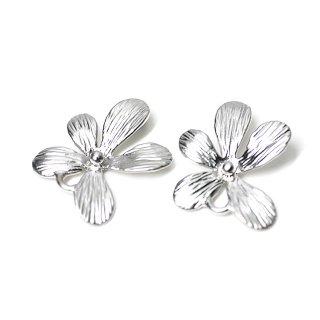 【2個入り】繊細なPetit Flowerマッドシルバーコネクター、チャーム