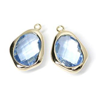 【1個】Light Sapphireカラー不規則ドロップ形ゴールドチャーム、ペンダント