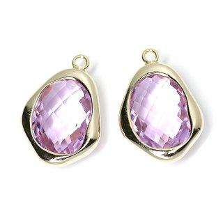 【1個】Lilac Lavenderカラー不規則ドロップ形ゴールドチャーム、ペンダント