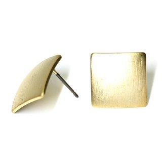 【1ペア】チタン芯!シンプル13mmスクエア形マッドゴールドピアス、パーツ