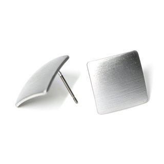 【1ペア】チタン芯!シンプル13mmスクエア形マッドシルバーピアス、パーツ