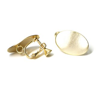 【1ペア】曲線の楕円形マッドゴールドネジバネ&カン付きイヤリング、パーツ