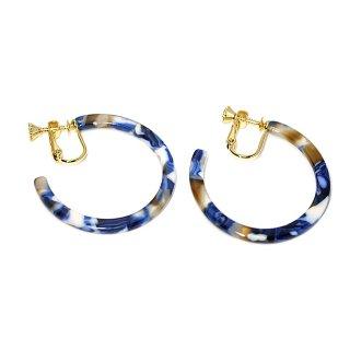 【1ペア】Navy Blue Mable セルロースフープイヤリング、パーツ