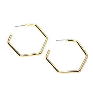 【1ペア】チタン芯!光沢ゴールド大ぶり約37mm六角形ピアス、パーツ
