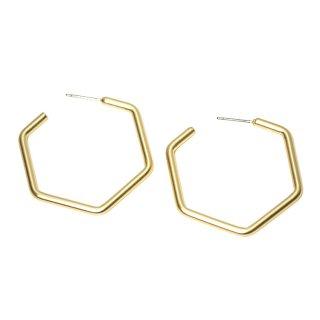 【1ペア】チタン芯!マッドゴールド大ぶり約37mm六角形ピアス、パーツ