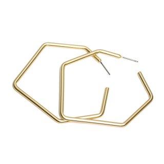 【1ペア】チタン芯!マッドゴールド大ぶり約56mmヘキサゴンモチーフピアス、パーツ
