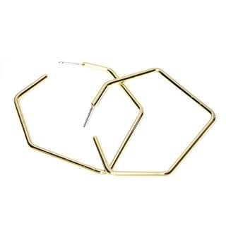 【1ペア】チタン芯!光沢ゴールド大ぶり約56mmヘキサゴンモチーフピアス、パーツ