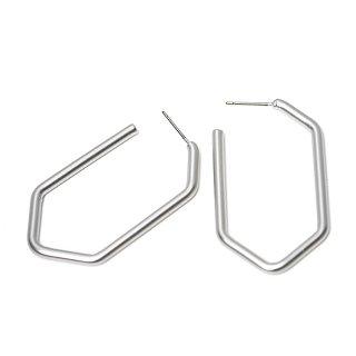 【1ペア】チタン芯!マッドシルバー大ぶり約43mm五角形Pentagonピアス、パーツ