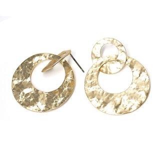 【1ペア】チタン芯!凹凸ある大ぶりダブルサークル形マッドゴールドピアス、パーツ
