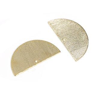 【2個入り】両面に質感ある光沢ゴールド約25mmハーフサークル形チャーム、パーツ