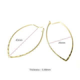 【1ペア】凹凸ある華奢な約43mm楕円形マッドゴールドフープピアス、パーツ