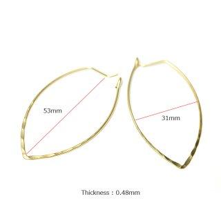 【1ペア】凹凸ある華奢な約53mm楕円形マッドゴールドフープピアス、パーツ