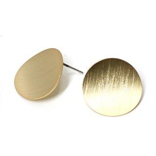 【1ペア】チタン芯!マッドゴールドScratch 曲線のCircleカン付きピアス、パーツ