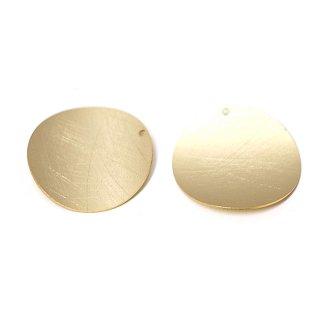【2個入り】マッドゴールド約28mm曲線 Scratch Circleチャーム、パーツ