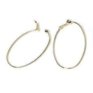 【1ペア】耳の負担を軽減した大ぶり約50mmオーバル形光沢ゴールドイヤリング,パーツ