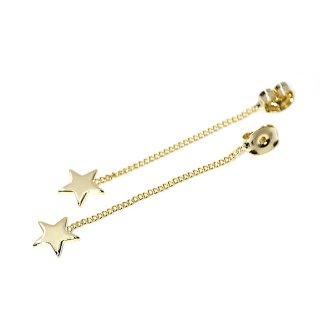 【4個入り】揺れる星STAR光沢ゴールドチェーン付きピアスキャッチ、装飾、パーツ