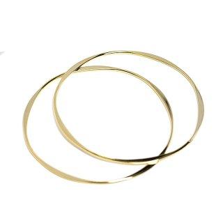 【1個】華奢でシンプルなウェイブデザインの約71mmゴールドバングル、ブレスレット
