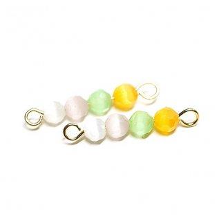 【2個入り】Spring Feel〜4色MIXキャッツアイ(天然石)円形ゴールド両カンチャーム、パーツ