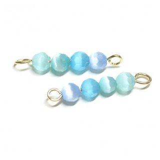 【2個入り】ブルー系4色キャッツアイ(天然石)円形ゴールド両カンチャーム、パーツ