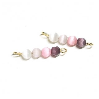 【2個入り】ピンク系4色キャッツアイ(天然石)円形ゴールド両カンチャーム、パーツ