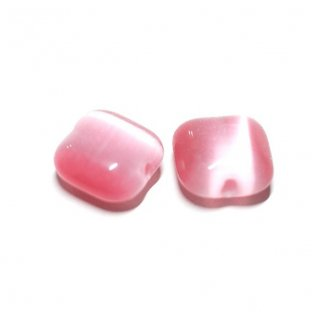 【10個入り】Rose Pinkカラーキャッツアイ(天然石)貫通ビーズ、パーツ