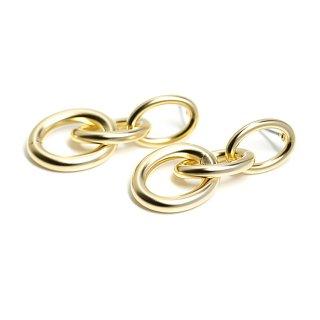 【1ペア】チタン芯!ボリューム&大きさ違いのオーバル形揺れるマッドゴールドピアス、パーツ