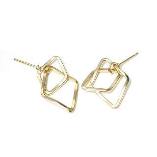 【1ペア】チタン芯!不規則&重なった丸みあるDouble Diamondマッドゴールドピアス、パーツ