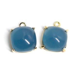 【2個入り】ボリューム!約9mm Indigo Blueカラーガラスのスクエア形ゴールドチャーム