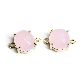 【2個入り】ボリューム!Sakura Pinkカラーガラスの楕円形ゴールドコネクター、パーツ