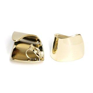 【1ペア】光沢ゴールド曲線美が美しいスクエア形クリップイヤリング、パーツ