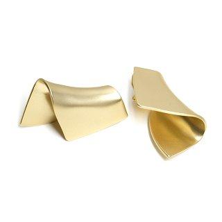 【1ペア】マッドゴールド折り曲げたような大ぶりクリップイヤリング、パーツ