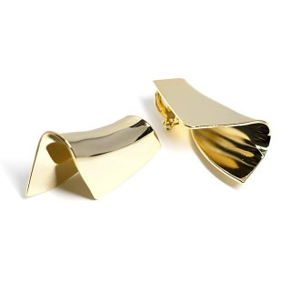 【1ペア】光沢ゴールド折り曲げたような大ぶりクリップイヤリング、パーツ