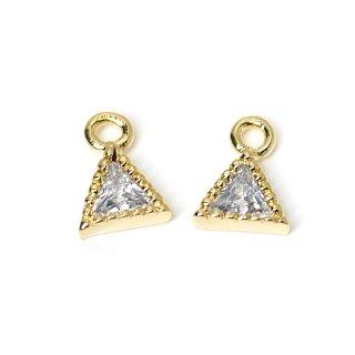 【2個入り】プチ三角形キュービックジルコニアゴールドチャーム