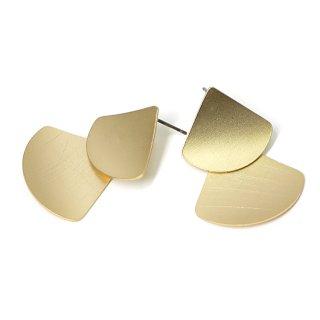 【1ペア】取り外し可&チタン芯!トライアングル&トライアングルマッドゴールドピアス、パーツ